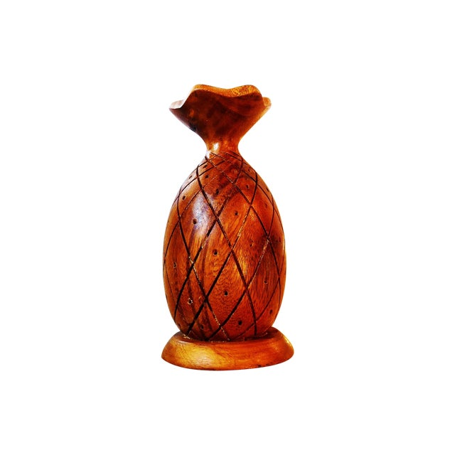 Vintage Monkey Pod Wood Pineapple - Image 1 of 3