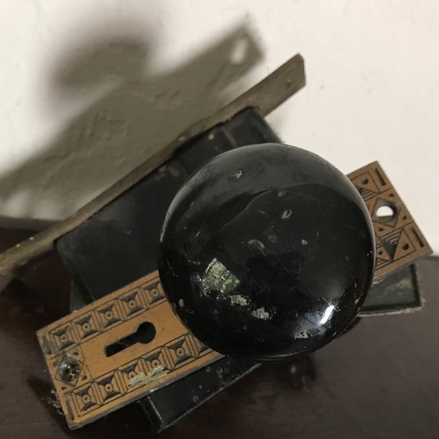 Antique Art Deco Black Porcelain Door Knobs With Door Plates - Image 8 of 11