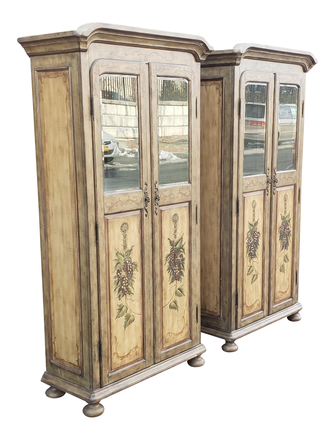 Pair Contemporary Country Painted Grape Motif Dining Room Armoire Bar  Cabinets C1990s For Sale