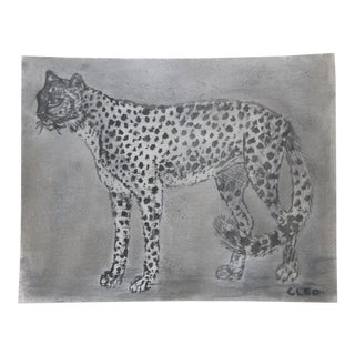 Gray Cheetah or Leopard Painting by Cleo Plowden For Sale