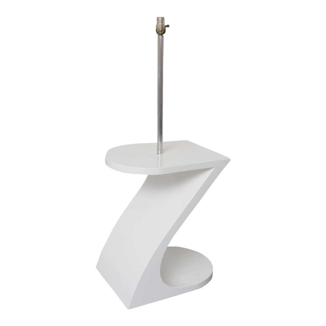 White Lacquer Floor Lamp with Tray 1970s For Sale