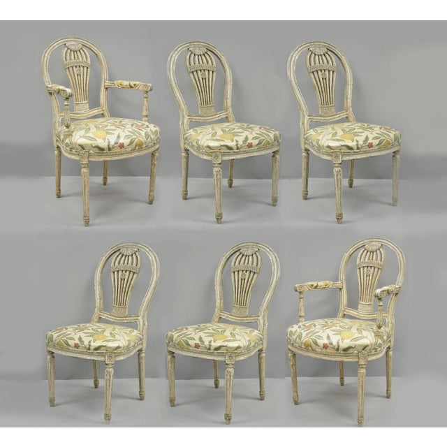 20th Century Louis XVI French Style Hot Air Balloon Back Dining Chairs - Set of 6 For Sale - Image 13 of 13