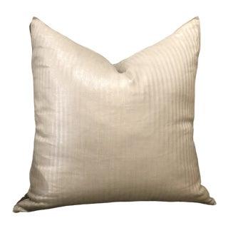 Modern Metallic Striped Linen Pillow For Sale
