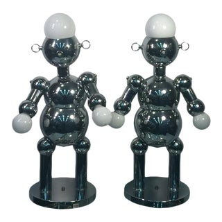 Great Pair of Modernist Chrome Robot Lamps by Torino For Sale