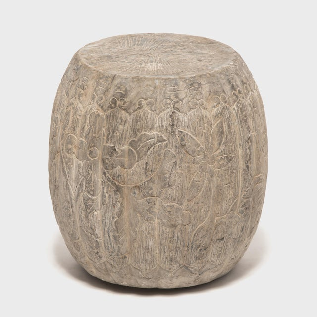 Gray Chinese Floral Melon Drum Stool For Sale - Image 8 of 8