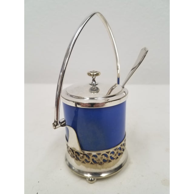 Antique English Silver Plate Jam or Condiment Server with Blue Jar and a Spoon We liked this server because of the blue...