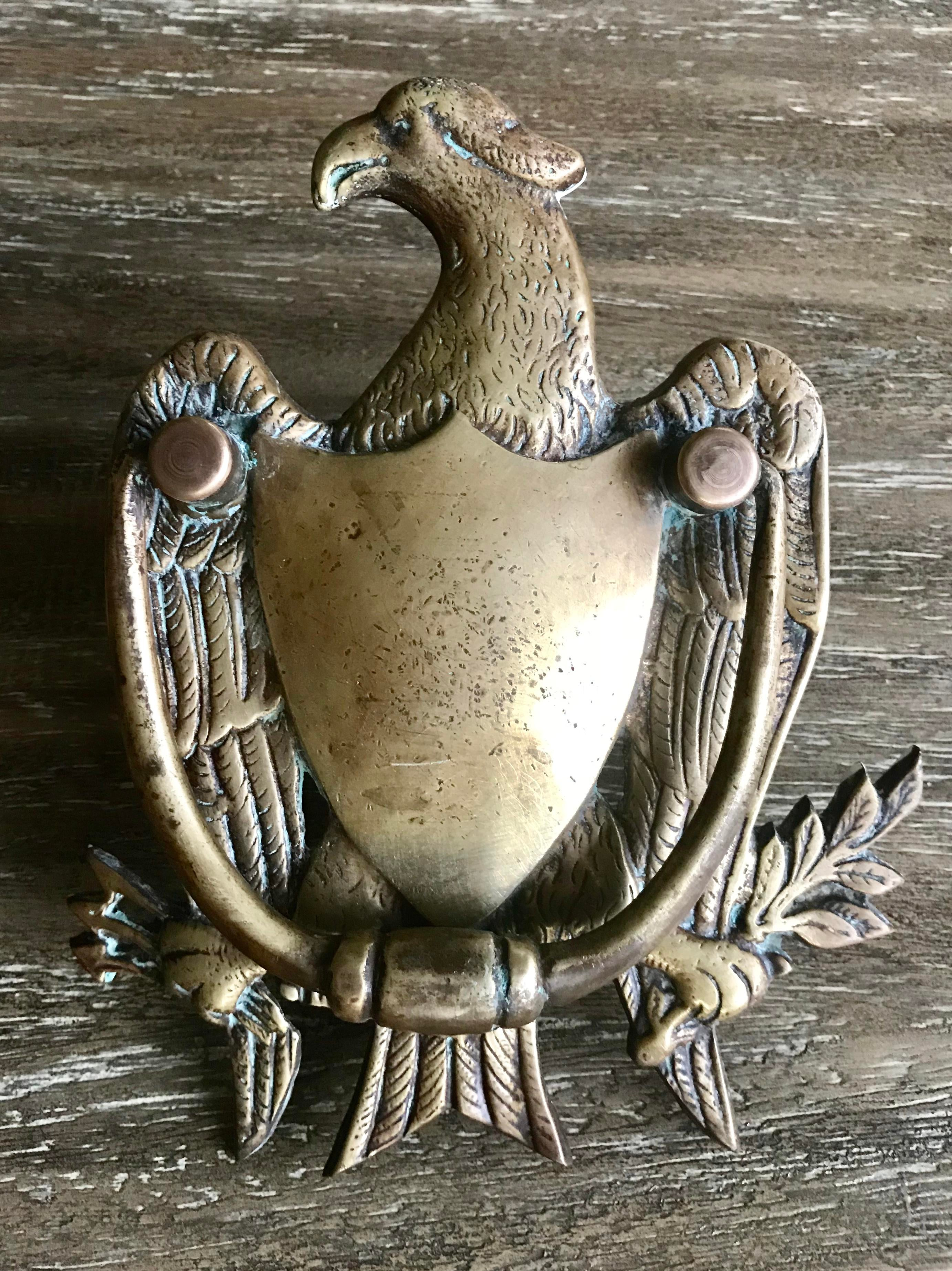 Brass Antique Brass Eagle And Crest Door Knocker U0026 Hardware For Sale    Image 7 Of