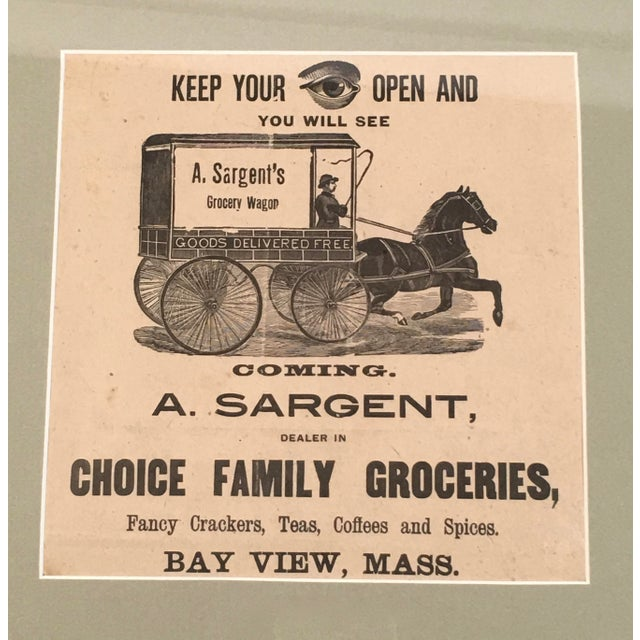 A charming 19th century rebus (combing word and image) advertisement for a grocery wagon in the Bay View section...