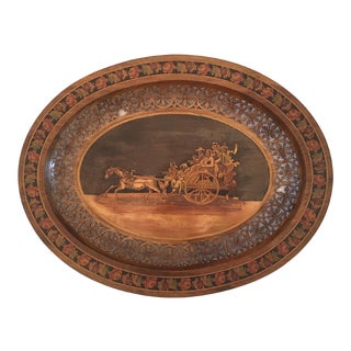 Italian Marquetry Incised Wood Horse & Carriage With People Tray For Sale