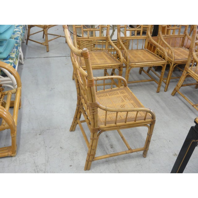 Vintage Geometric Bamboo & Cane Dining Chairs - Set of 8 For Sale - Image 9 of 12