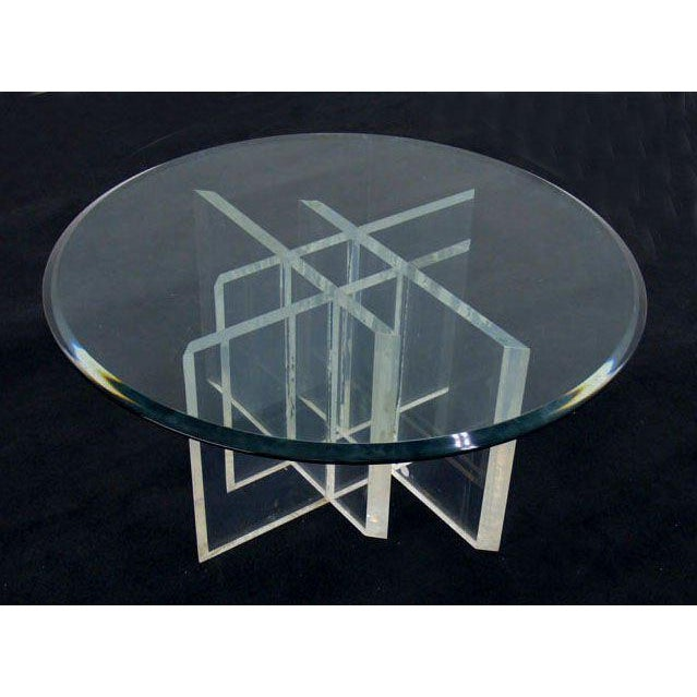 """Lovely heavy lucite base 3/4"""" thick glass top coffee table."""