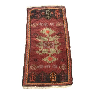 "Hand Made VIntage Tribal Turkish Runner Mat Rug Ottoman Design 1'10""x3'6"" For Sale"