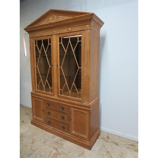 Henredon Aegean Crystal Curio China Carved Hutch Cabinet Preview