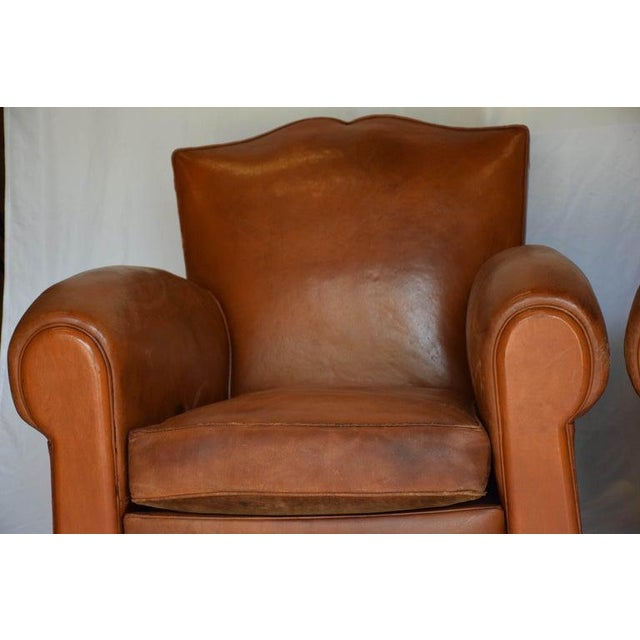 Early 20th Century 1930s Leather Moustache Leather Club Chairs - a Pair For Sale - Image 5 of 13