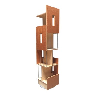 Contemporary Lacewood & Baltic Birch Plywood Swiveling Bookcase For Sale