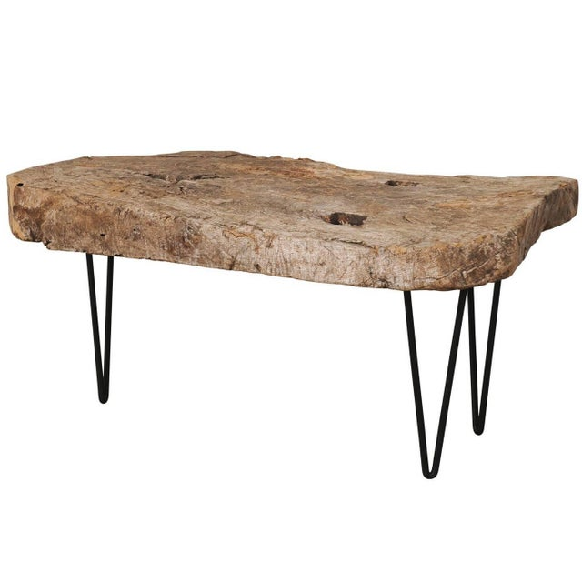 Brown Rustic Custom-Made Coffee Table of Old Natural Coffee Table For Sale - Image 8 of 8