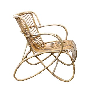 Vintage French Bamboo Rattan Armchair