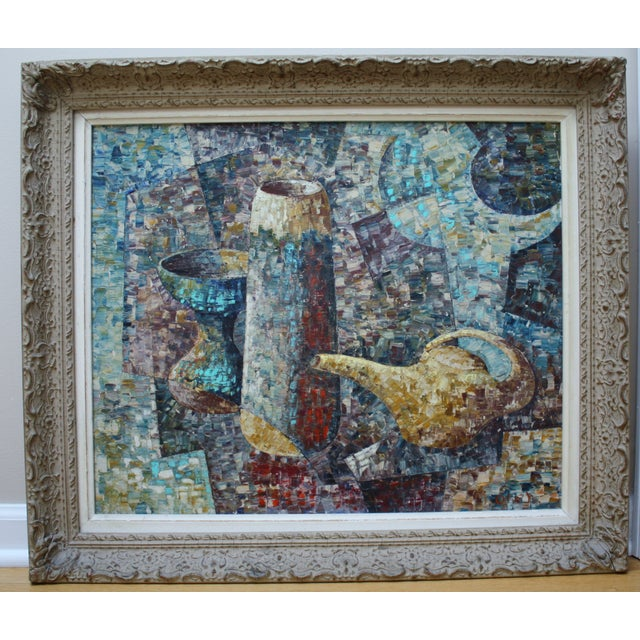 """A Mid-century cubist/abstract/impressionist still life oil painting of pottery on canvas. Signed """"Loren"""" lower right. In..."""