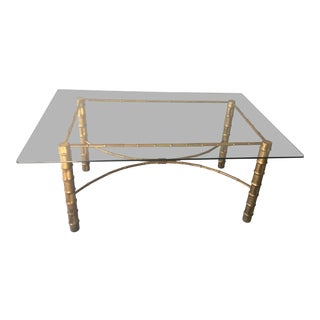1970s Asian Modern Gilded Faux Bamboo Dining Table For Sale