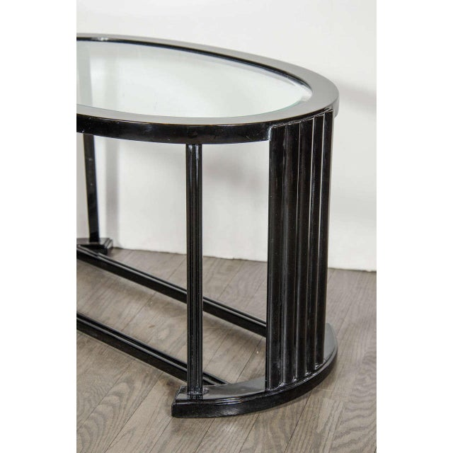 Art Deco Art Deco Bauhaus Style Cocktail or Occasional Table in Black Lacquer and Glass For Sale - Image 3 of 8