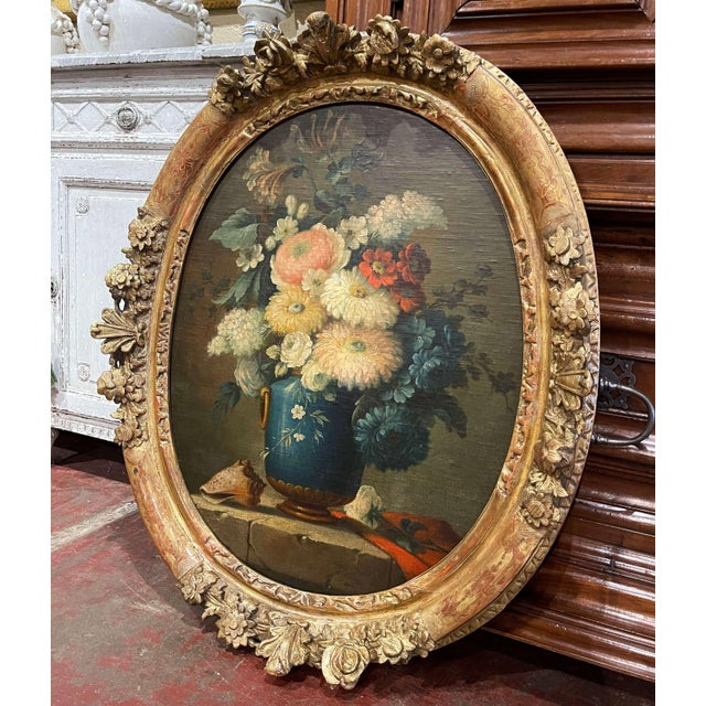 Invite color into your home with this elegant oil on board painting. Painted in France circa 1870 and set in a carved gilt...