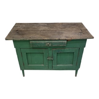 1940s Primitive Green Chest French For Sale