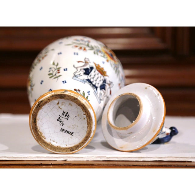 Ceramic 19th Century French Hand-Painted Ceramic Potiche and Lid From Rouen For Sale - Image 7 of 8