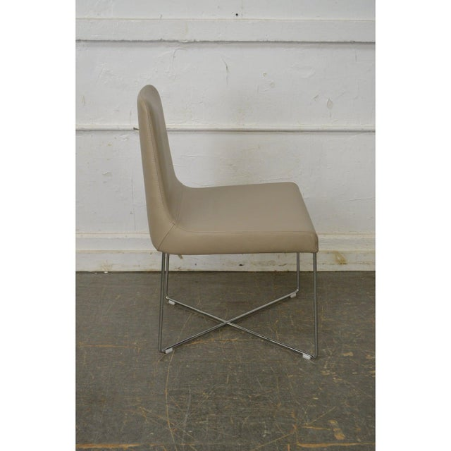Contemporary Ligne Roset Classic Modern Chrome & Leather Dining Chairs - Set of 8 For Sale - Image 3 of 10