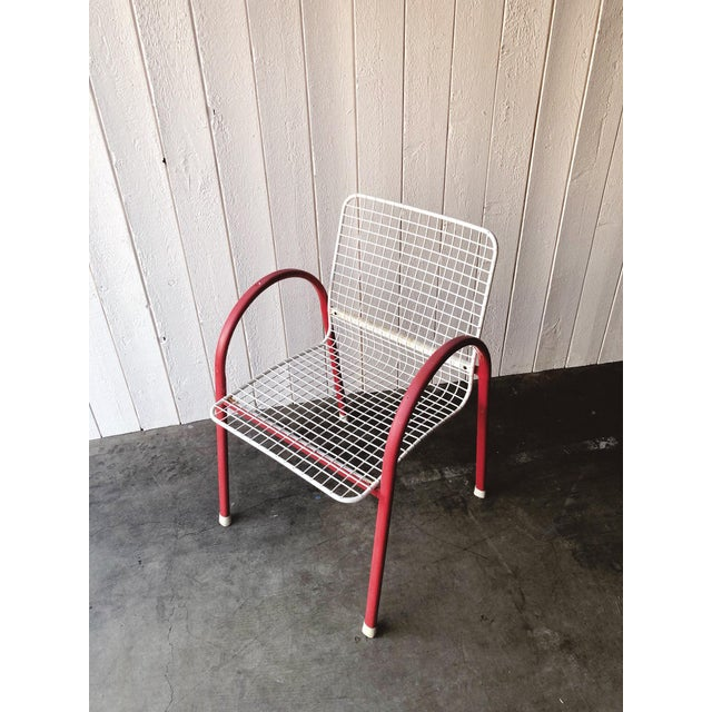 80's Vintage Designer Arc Grid Patio Chairs For Sale In Portland, OR - Image 6 of 12