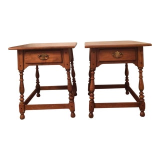 Vintage Ethan Allen Circa 1776 Maple Side Tables - a Pair