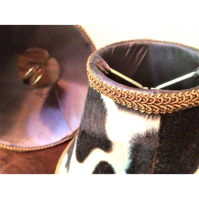 Silk-Lined Velvet Cow Hide Pattern Lamp Shades for Chandelier or Sconces - Set of 6 For Sale - Image 4 of 10