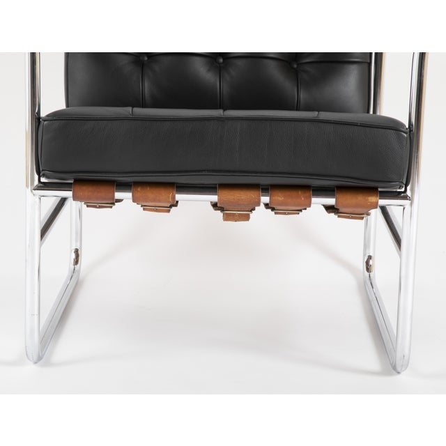 Danish Modern Hans Eichenberger for De Sede HE 113 Black Leather Chair With Cognac Straps For Sale - Image 3 of 6