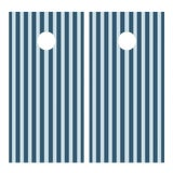 Image of Chairish x The Muddy Dog Classic Stripe Cornhole Board, Navy/Sky - 2 Boards + 8 Toss Bags For Sale