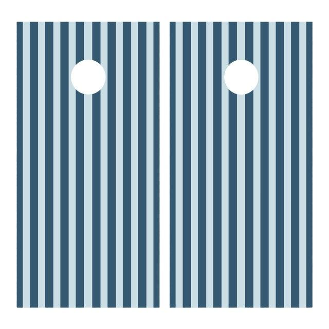 Chairish x The Muddy Dog Classic Stripe Cornhole Board, Navy/Sky - 2 Boards + 8 Toss Bags For Sale