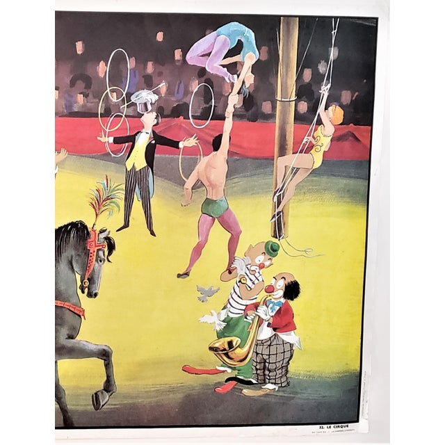 Mid-Century French Double Sided School Poster-Circus, Boy's Room For Sale - Image 4 of 9