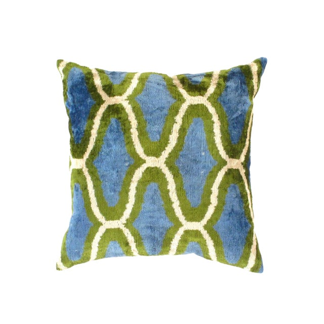 Contemporary Pasargad Oasis Collection Silk Velvet Ikat Pillow For Sale