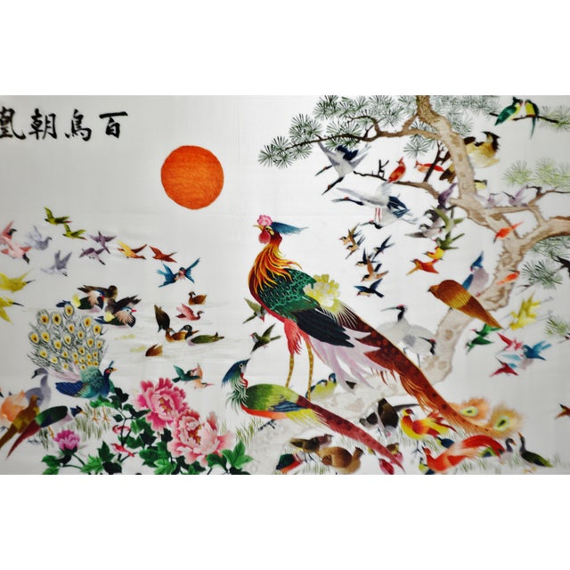 Vintage Framed 100 Birds Adore the Phoenix Chinese Silk Embroidery For Sale - Image 4 of 13