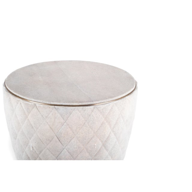 Art Deco Coco Stool in Cream Shagreen and Bronze-Patina Brass by Kifu Paris For Sale - Image 3 of 8