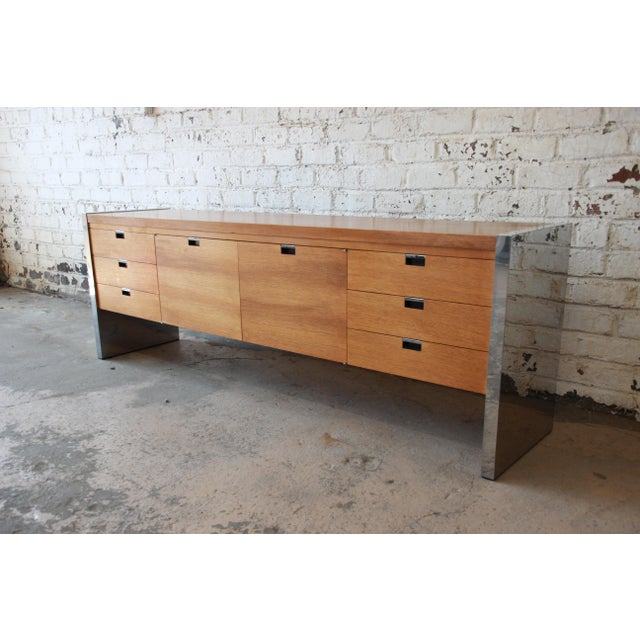 Mid-Century Modern Roger Sprunger for Dunbar Mahogany and Chrome Executive Credenza For Sale - Image 3 of 11