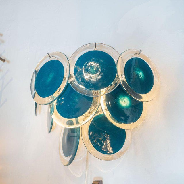 Modernist 9-Disc Hand Blown Murano Turquoise & Translucent Glass Sconces - a Pair For Sale - Image 4 of 6