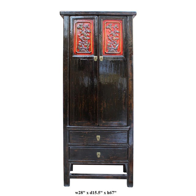 Chinese Distressed Black Red Floral Motif Cabinet For Sale In San Francisco - Image 6 of 6