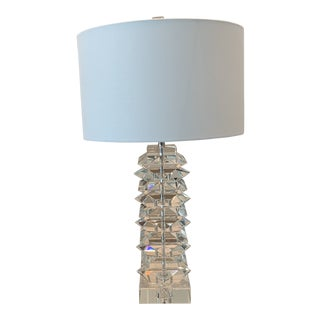 John Richard Stacked Crystal Table Lamp For Sale