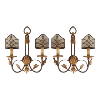 Vintage Giltwood & Iron Acanthus Leaf Wall Sconces- a Pair