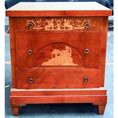 Italian Biedermeier Commode; Continental, Northern Italian, circa 1800 This rectangular top chest with burl veneer...