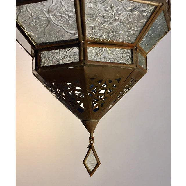 Metal Handcrafted Moroccan Metal and Clear Glass Lantern, Octagonal Shape For Sale - Image 7 of 12