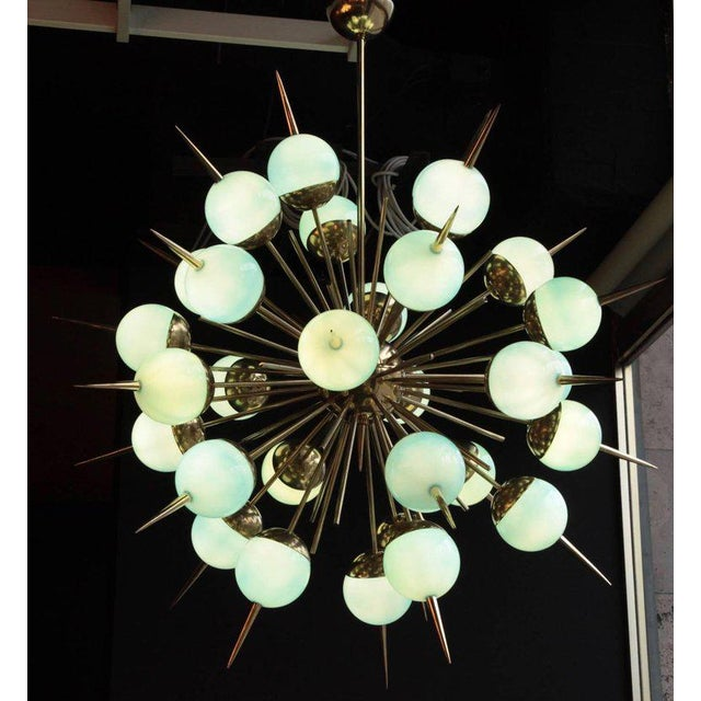 1 of 2 Huge Tiffany Turquoise Murano Glass and Brass Sputnik Chandeliers For Sale - Image 4 of 5