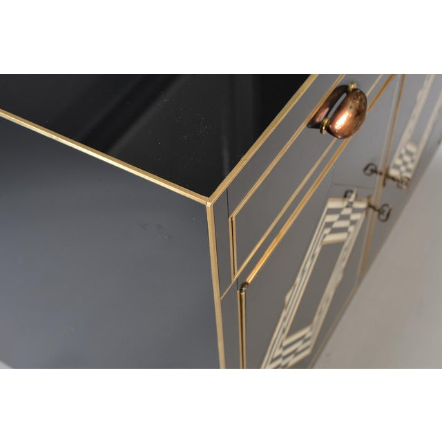 Brass Op Art Murano Black and White Glass Clad Chest of Drawers With Brass Hardware For Sale - Image 7 of 13
