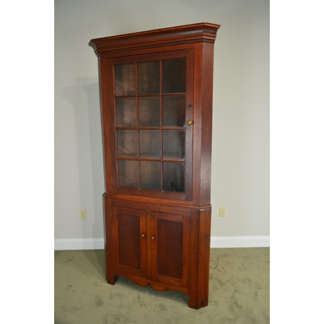 Brown Antique 19th Century Bucks County Pennsylvania Cherry Corner Cabinet  For Sale - Image 8 of - Antique 19th Century Bucks County Pennsylvania Cherry Corner Cabinet