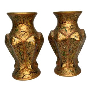 Vintage Indian Hand Painted Vases . - a Pair For Sale