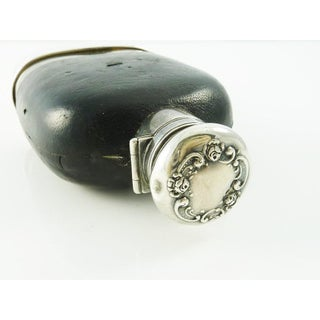 Antique Sterling Silver & Leather Hip Flask or Whiskey Flask With Removable Cup Preview